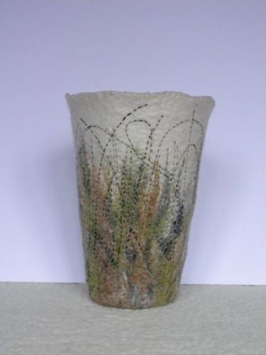 Grasses vase - created by Margaret Chalmers, FFelted.